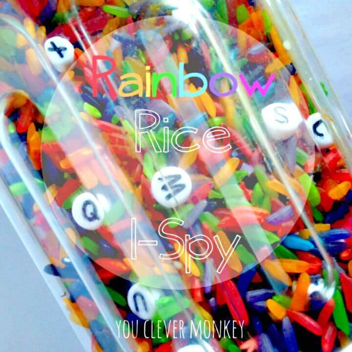 How To Make Rainbow Rice I-spy Bottle - DIY