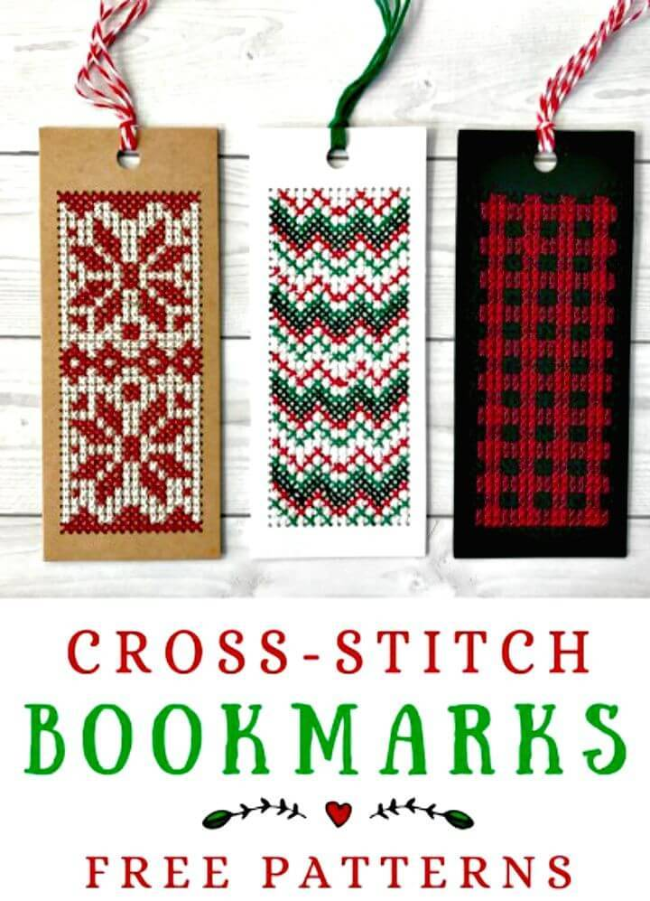 DIY  Winter Cross-stitch Bookmarks
