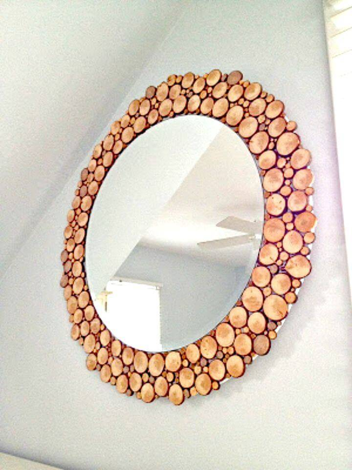 How To Make Circular Mirror with Wood Slices - DIY