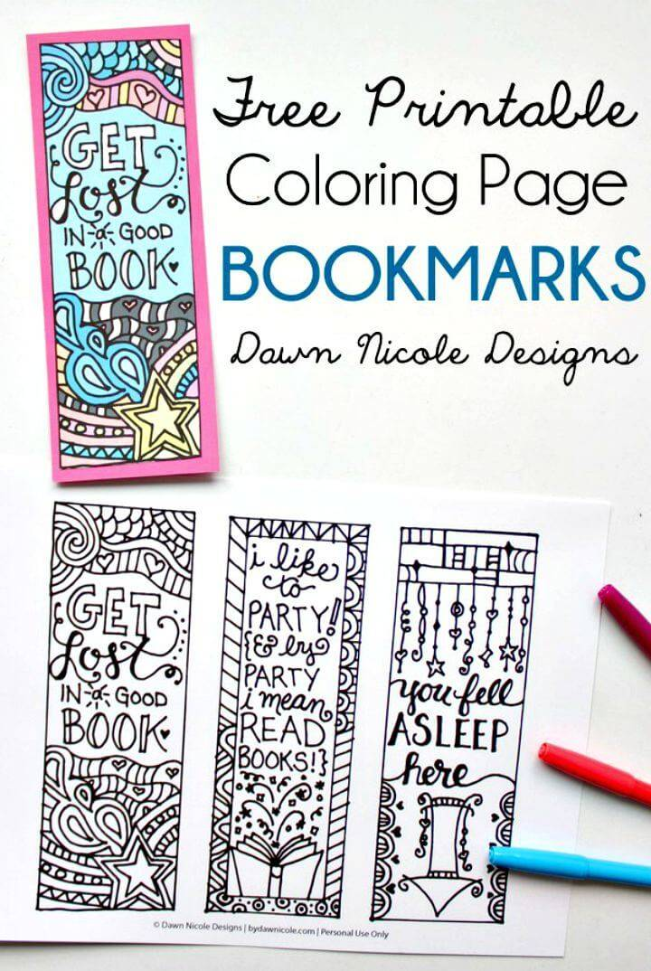 DIY Coloring Page Bookmarks