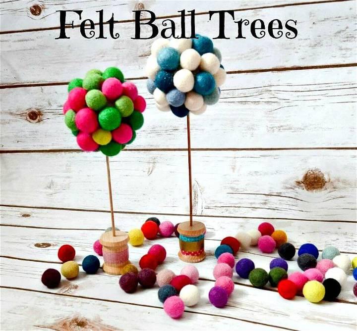 Cute DIY Felt Ball Trees