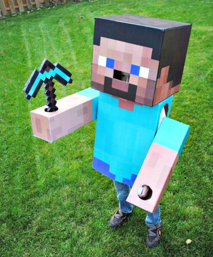 How to Make Minecraft Steve Costume for Kids to Play