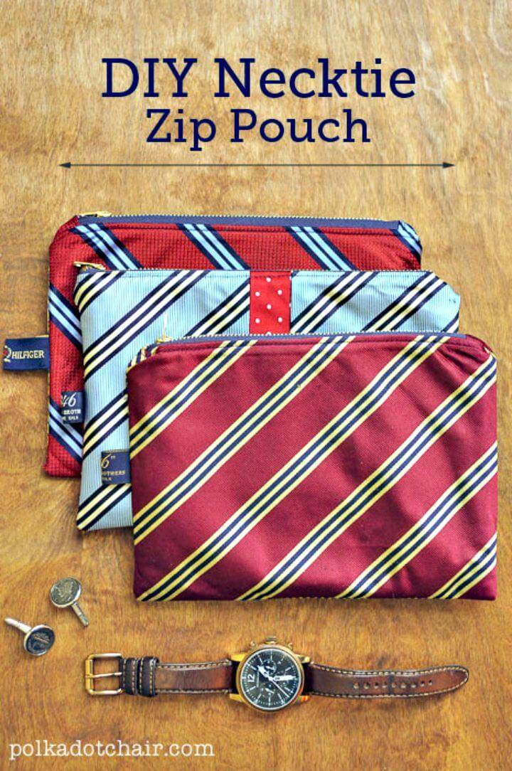 How To Make Necktie Zip Pouch - Last Minute DIY Gift
