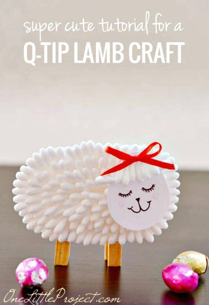 Beautiful DIY Q-tip Lamb Craft