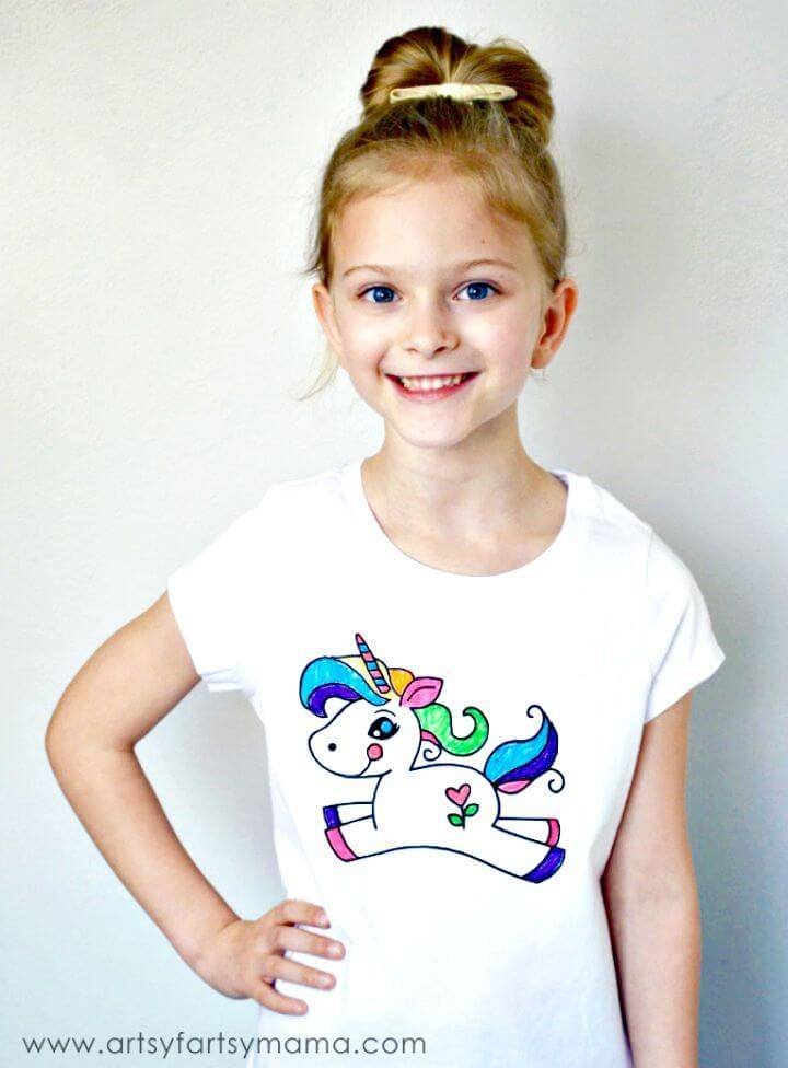 Adorable DIY Unicorn Coloring Shirt Craft