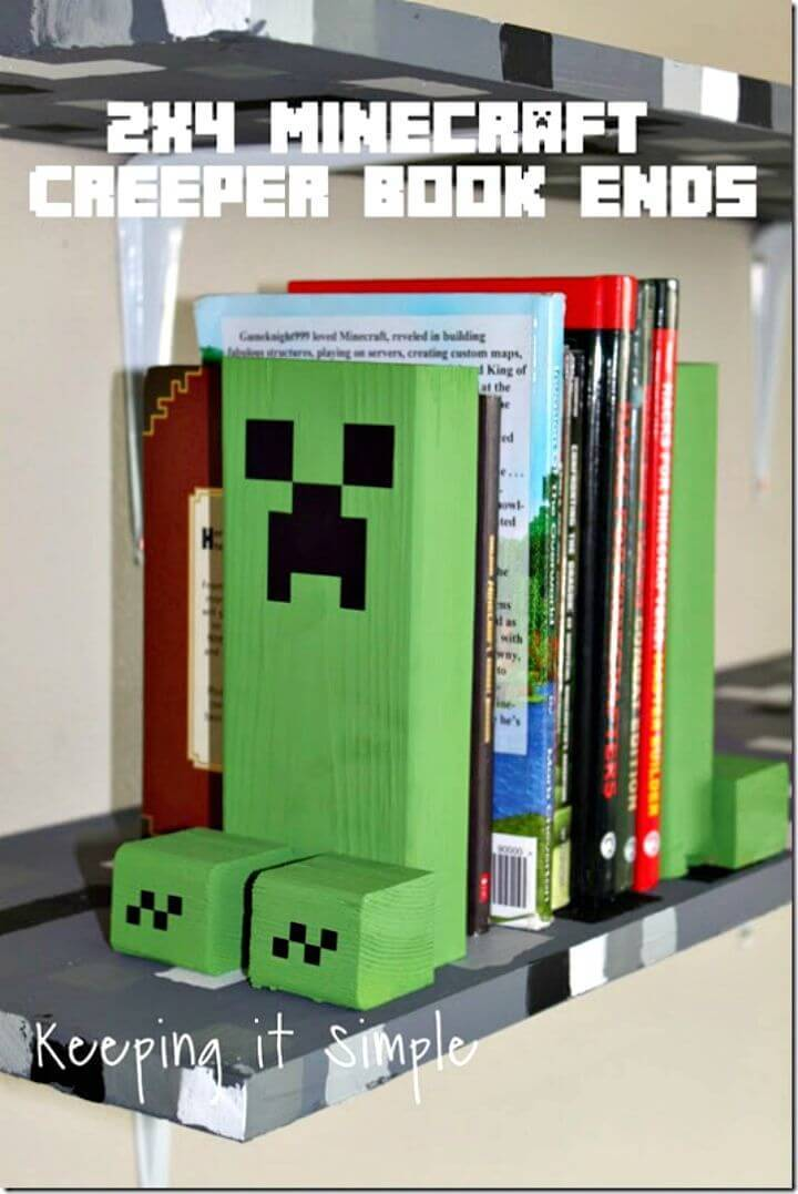 Make 2×4 Minecraft Creeper Book Ends - DIY Idea for Kids