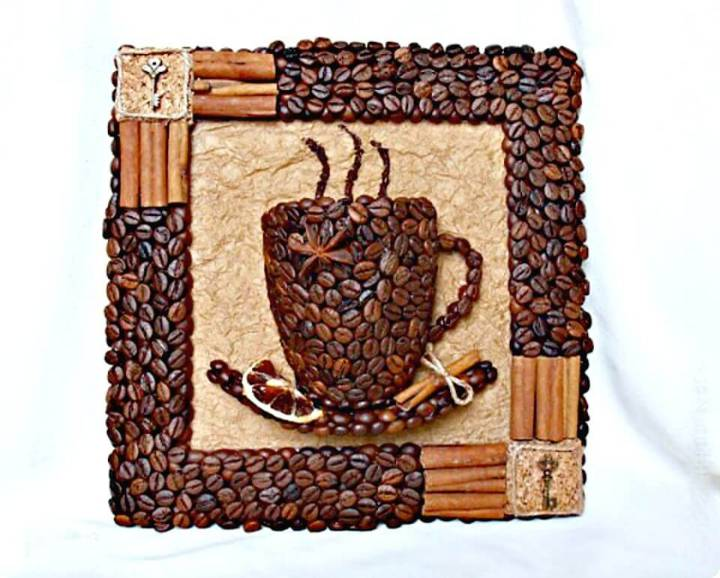 DIY 3D Coffee Cup with Coffee Beans
