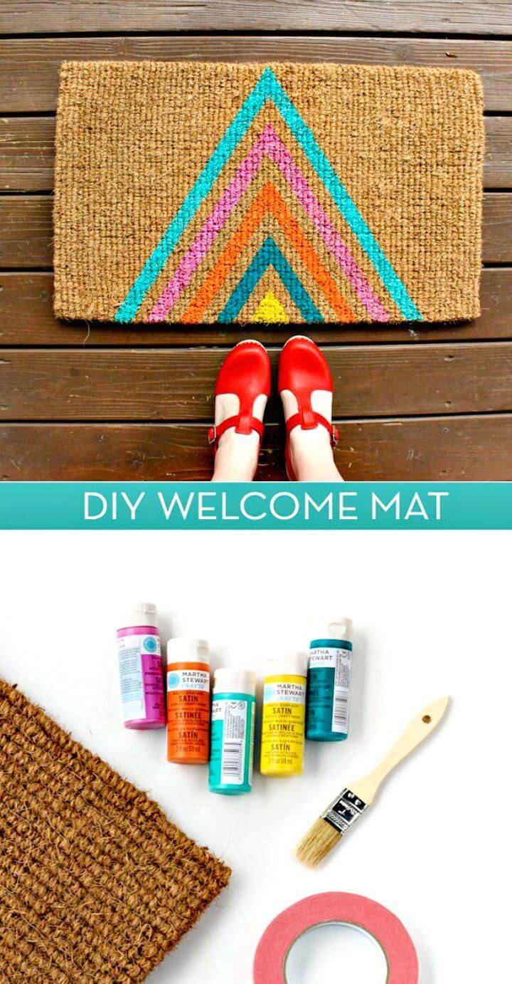 Colorful DIY Geometric Welcome Mat