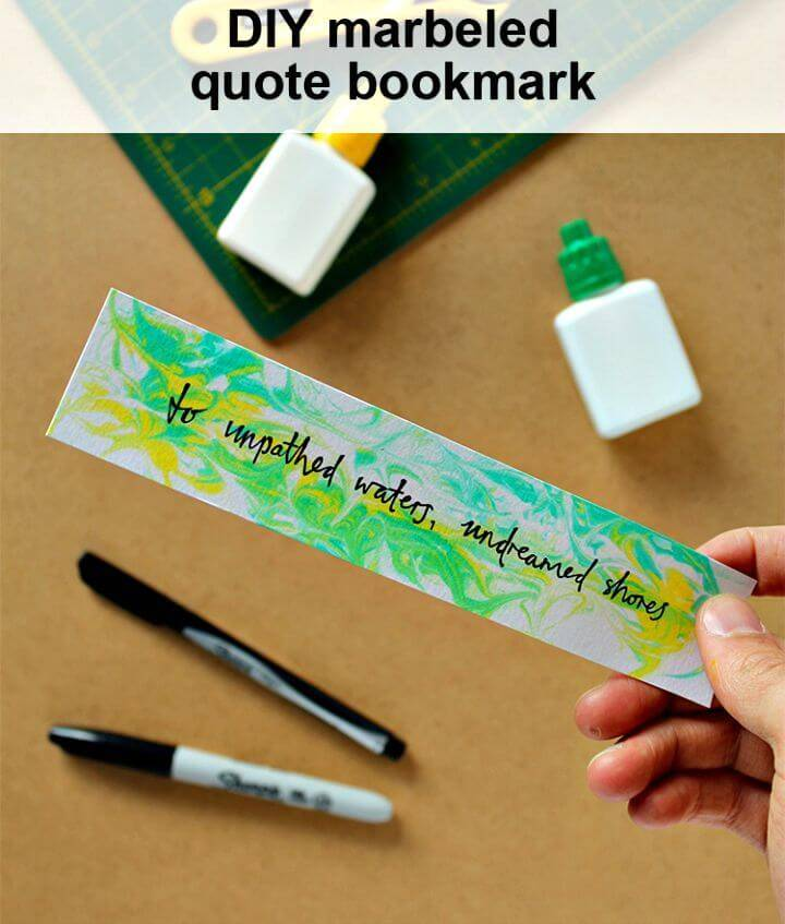 DIY Marbled Bookmark with Shaving Foam