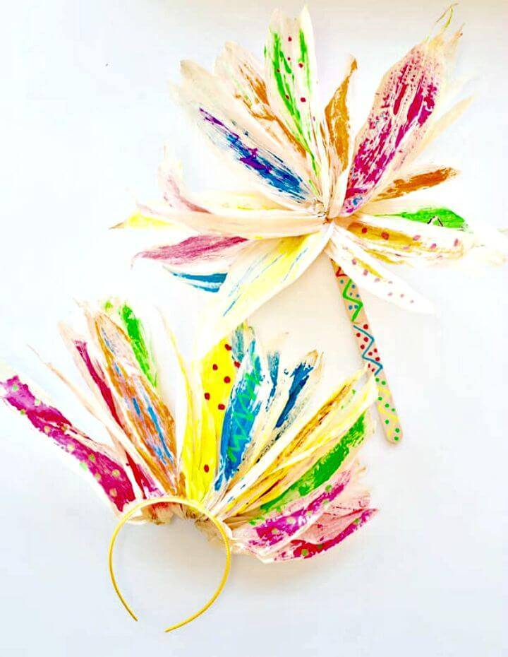 DIY Corn Husk Flower Painting with Kids