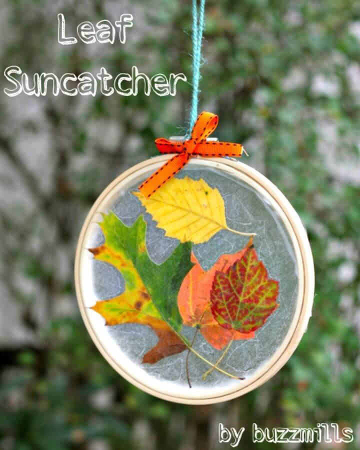 DIY Embroidery Hoop Leaf Suncatchers