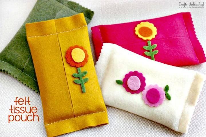 DIY Felt Pouch Tissue Holder