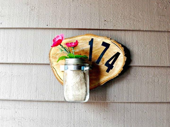 Quick DIY House Number Plaque with A Wood Slice