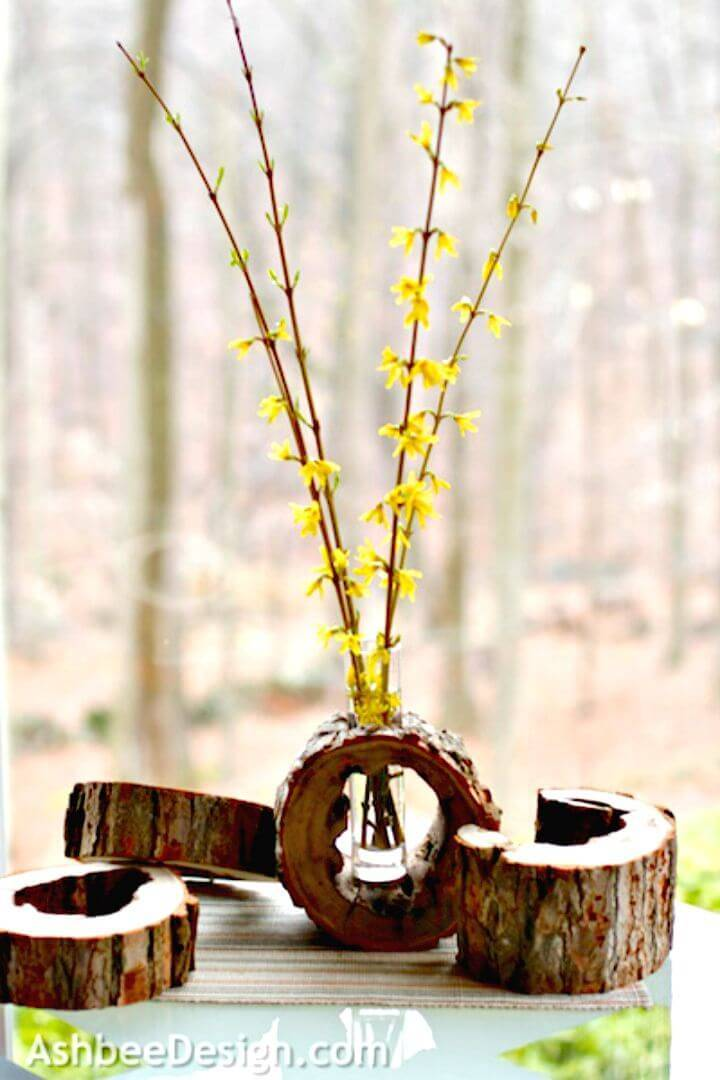 Make Log Slice Vase with Spring Flowers - DIY Wood Slice for Your Home Decor