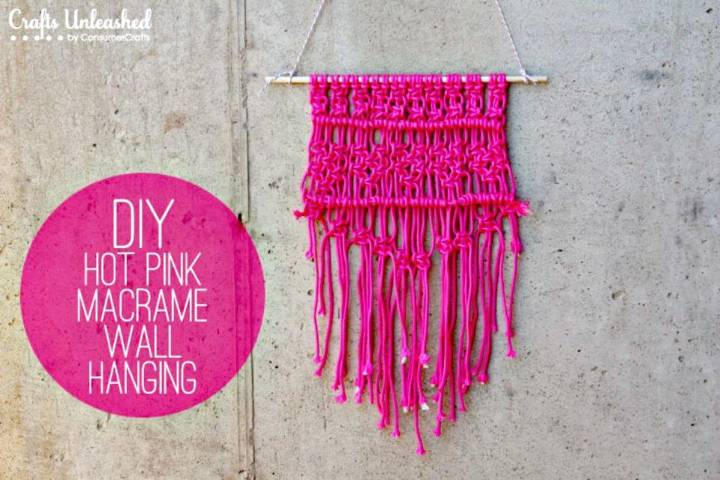 Easy to Make Macrame Hot Pink Wall Hanging