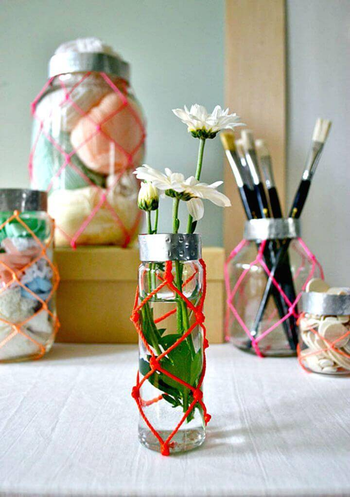 Beautiful DIY Neon Macramé Jars