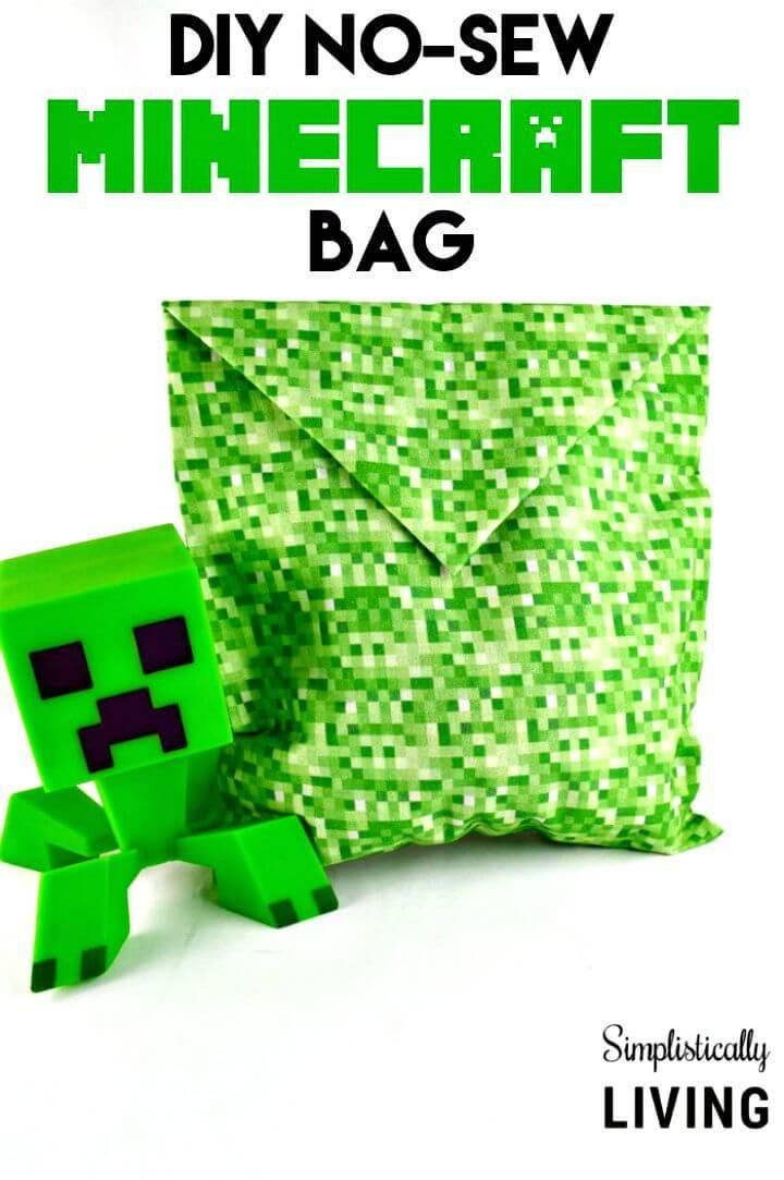 Easy DIY No-sew Minecraft Bag