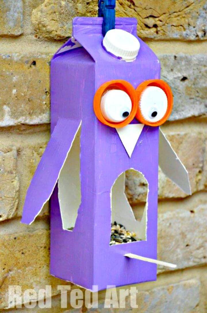 DIY Owl Bird Feeder Using Juice Carton