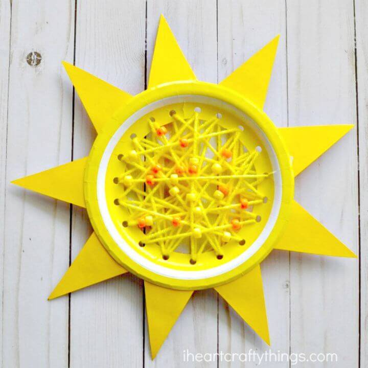 DIY Paper Plate Sun Summer Sewing Craft