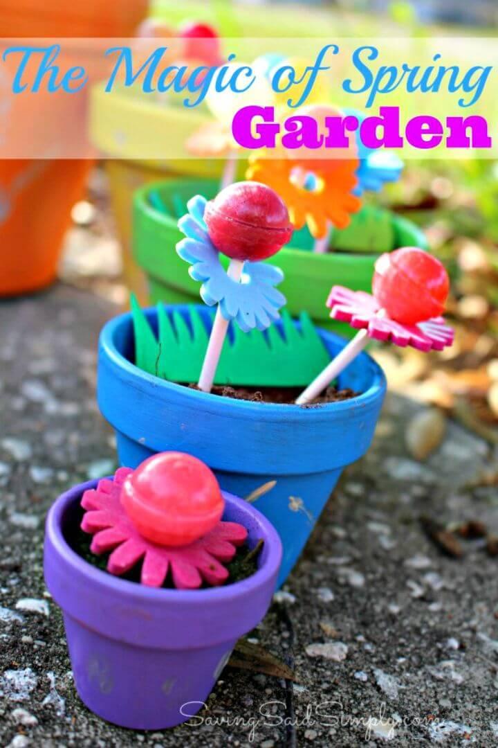 DIY Spring Garden for Kids with Dum Dums Lollipops