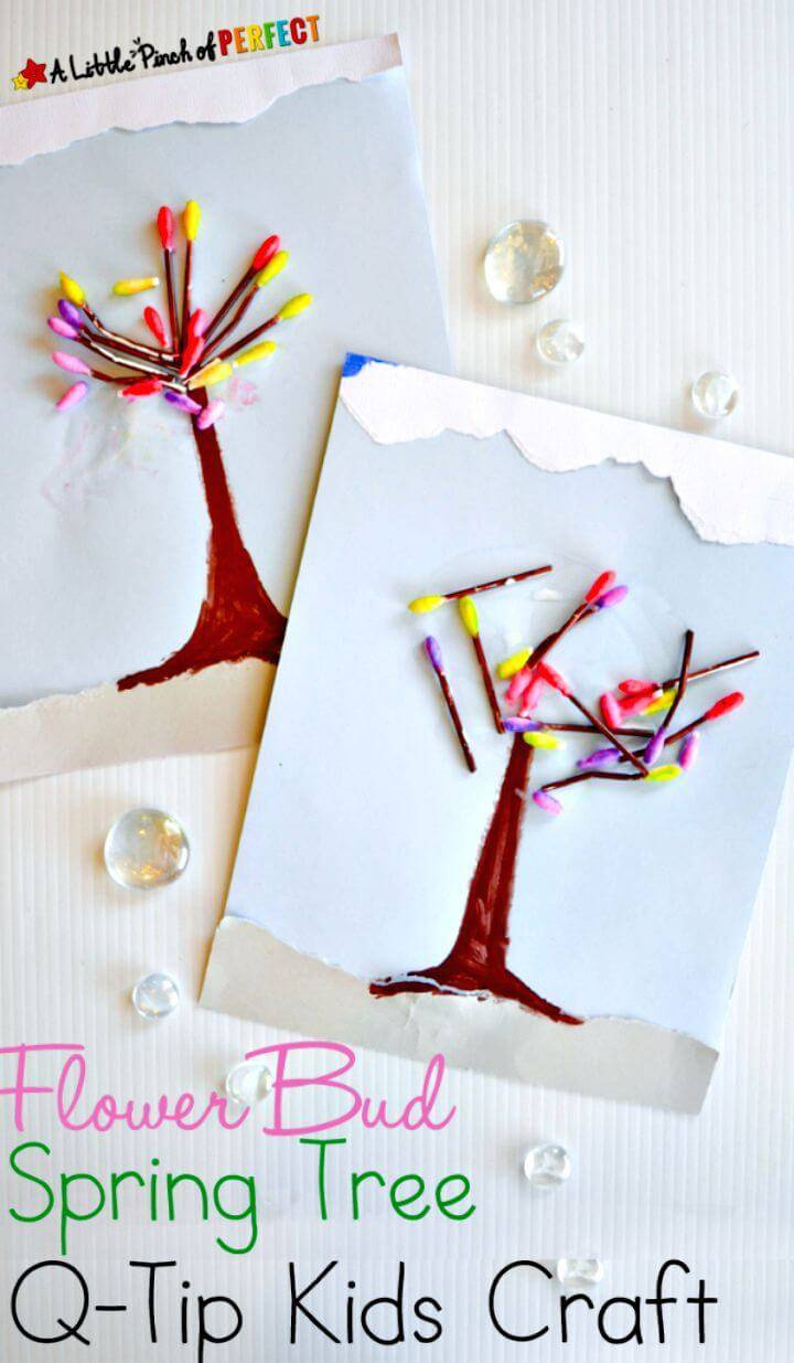 Make Spring Tree Flower Bud Kid Craft with Q-tips