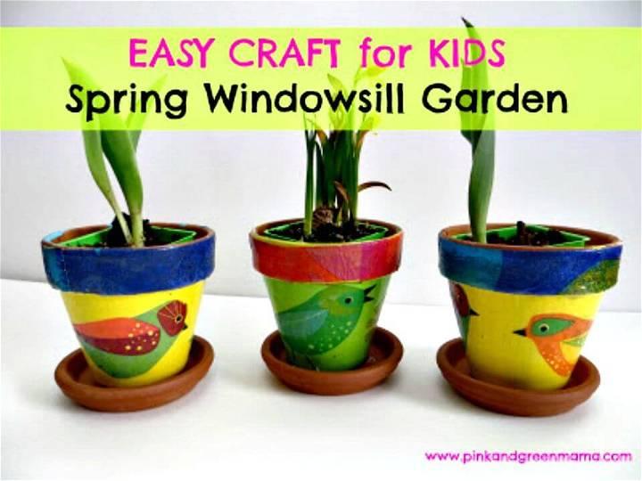 Easy to Make Spring Windowsill Garden for Children