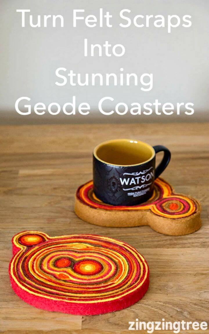 DIY Stunning Scrap Felt Geode Coasters