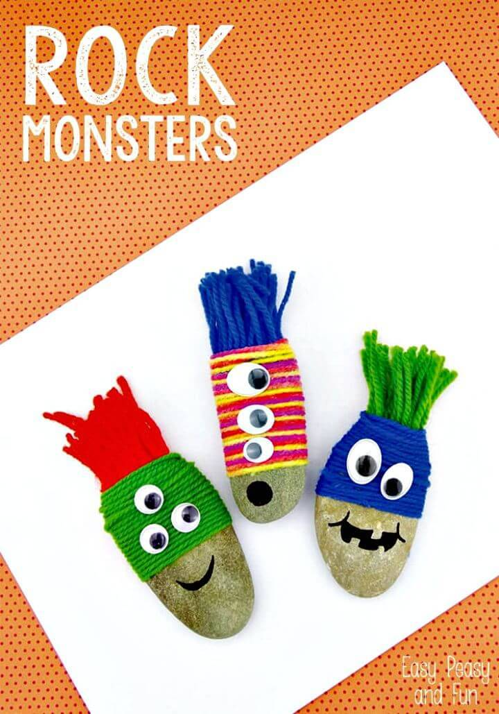 DIY Yarn Wrapped Rock Monsters