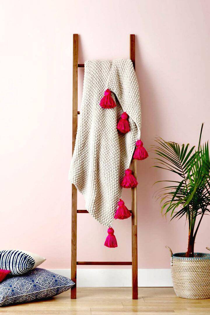 Easy DIY Tassel Throw Blanket Wedding Gift