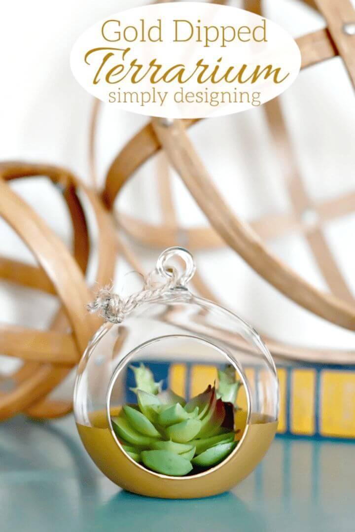 Pretty DIY Gold Dipped Terrarium
