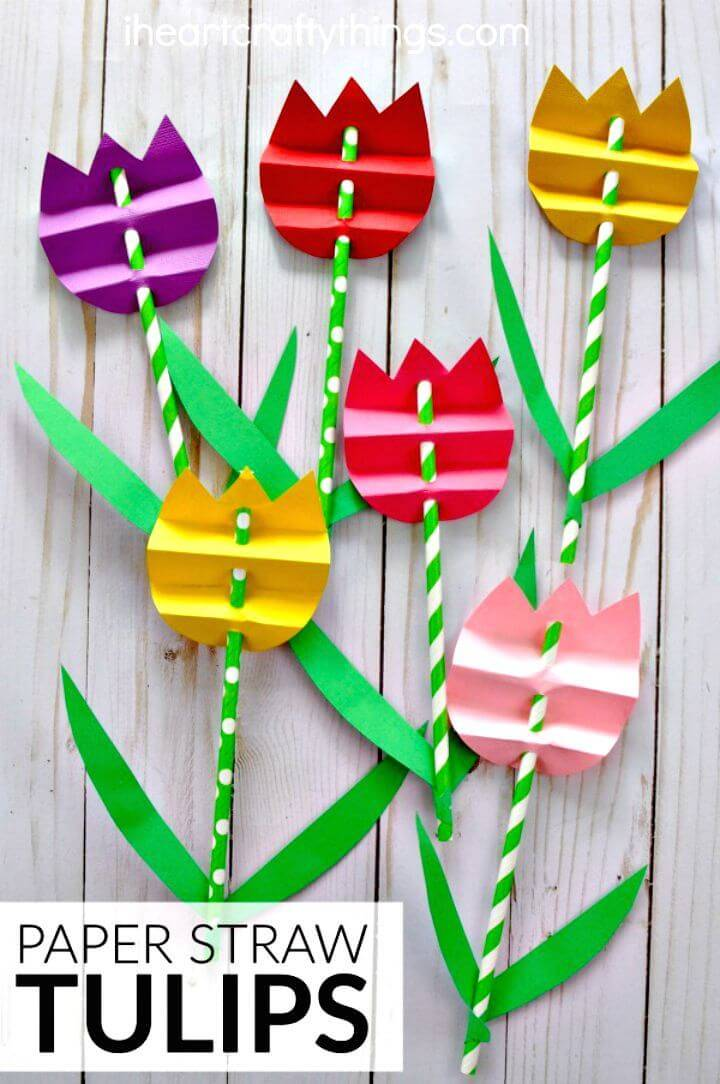 Make Paper Straw Tulip Craft
