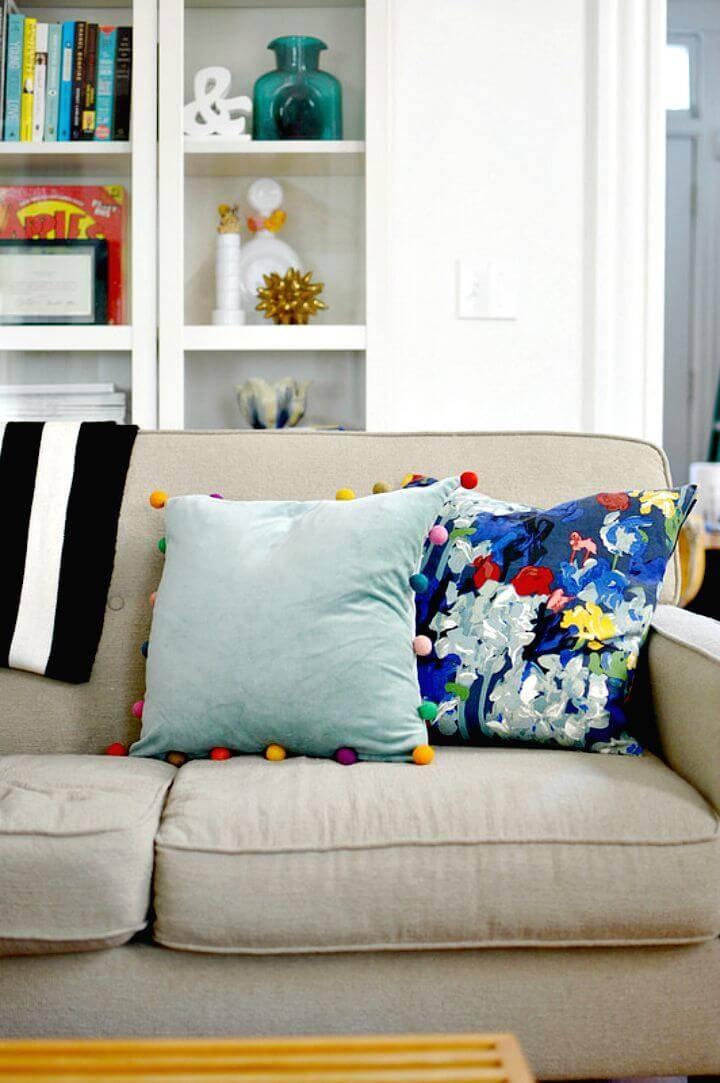 DIY Velvet Pom Pom Pillows