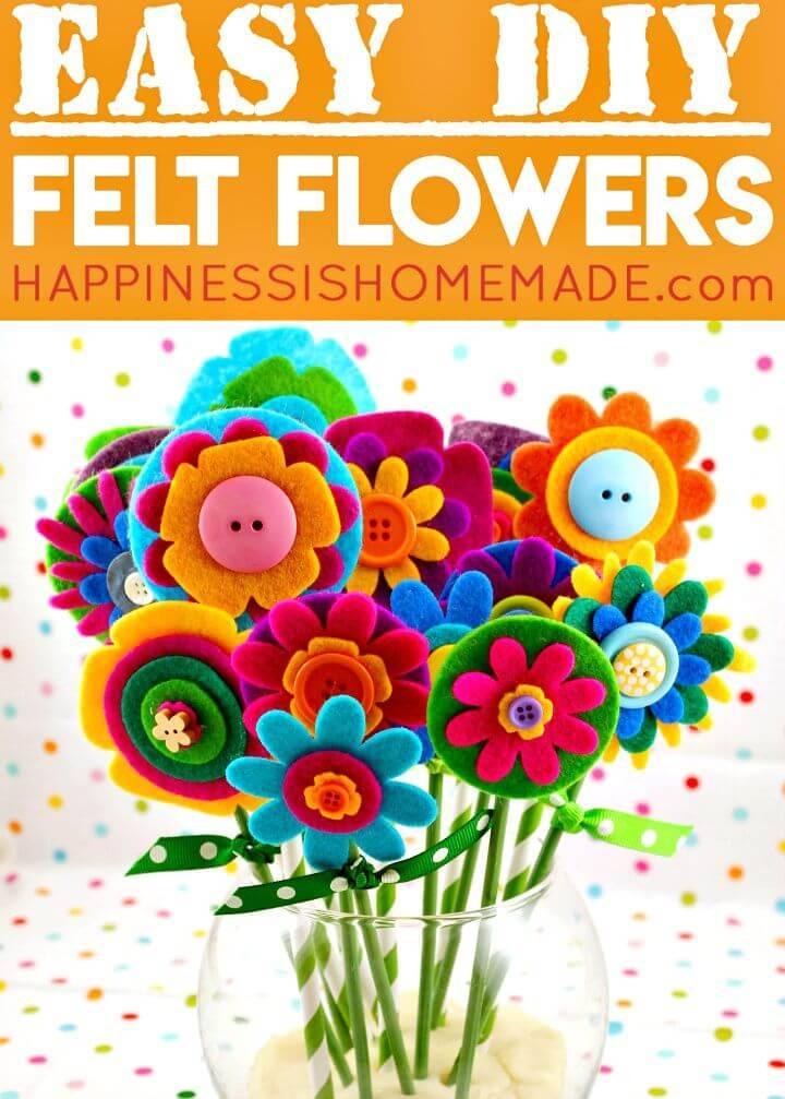 DIY Felt Flowers Mother's Day Gift