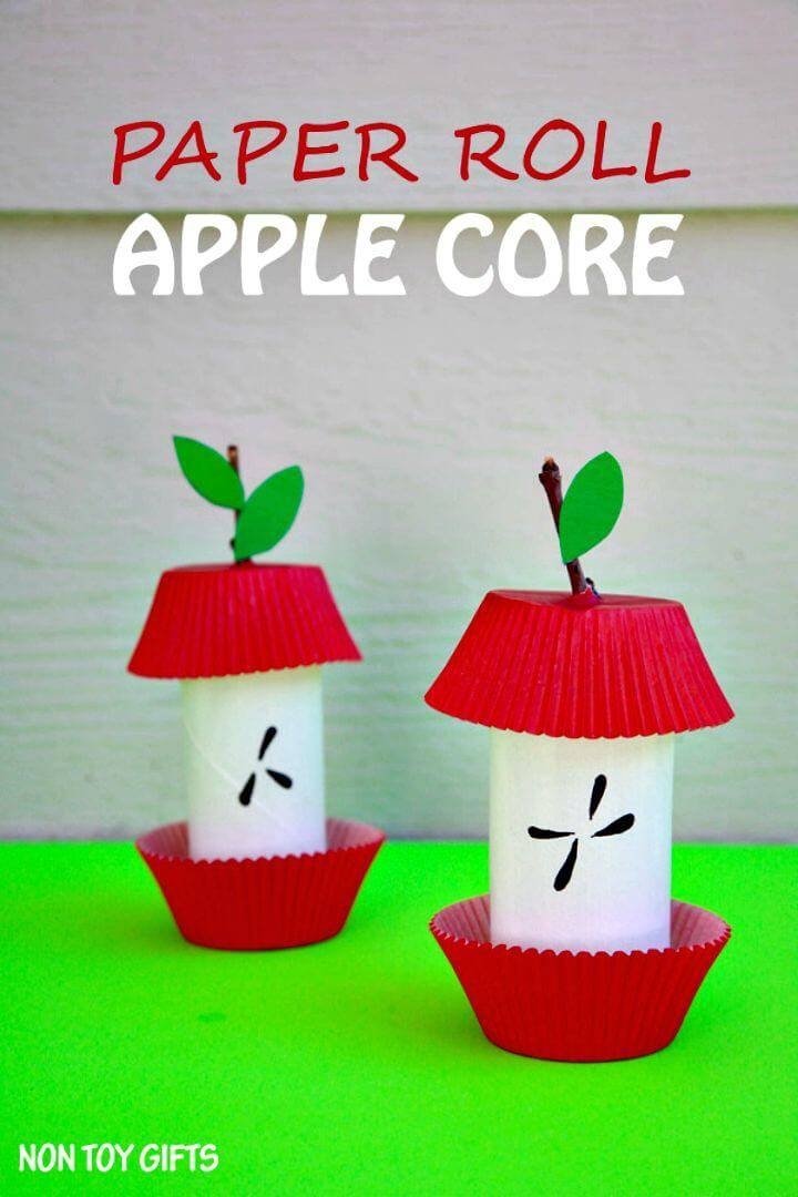 Quick DIY Paper Roll Apple Core