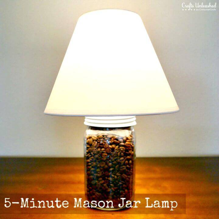 Adorable DIY Coffee Bean Mason Jar Lamp