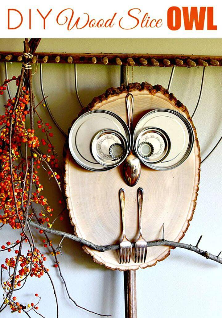 Quick and Easy DIY Wood Slice Owl