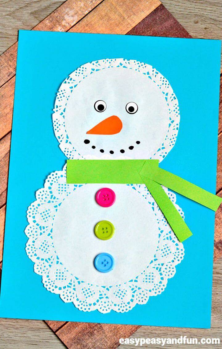 Quick DIY Doily Snowman Craft