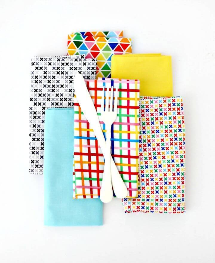 DIY Dinner Napkins with Mitered Corners