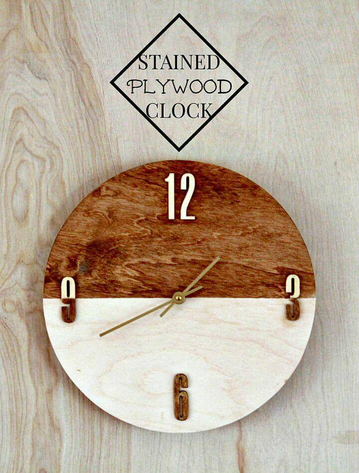 Pretty DIY Stained Plywood Wall Clock