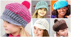 15 Free Crochet Newsboy Hat Patterns, Crochet Hats, Crochet Hat Patterns, Crochet Newsboy Hat Patterns, Free Crochet Patterns