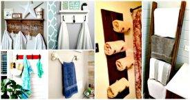 50 Easy DIY Towel Rack Ideas to Organize Your Bathroom Storage, DIY Towel Holder Ideas, DIY Towel Storage, DIY Bathroom Strogae Projects, DIY Home Decor Ideas, DIY Projects, DIY Crafts