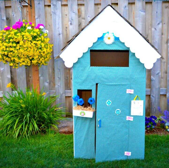 DIY Reuse Cardboard to Make Playhouse for Your Kids