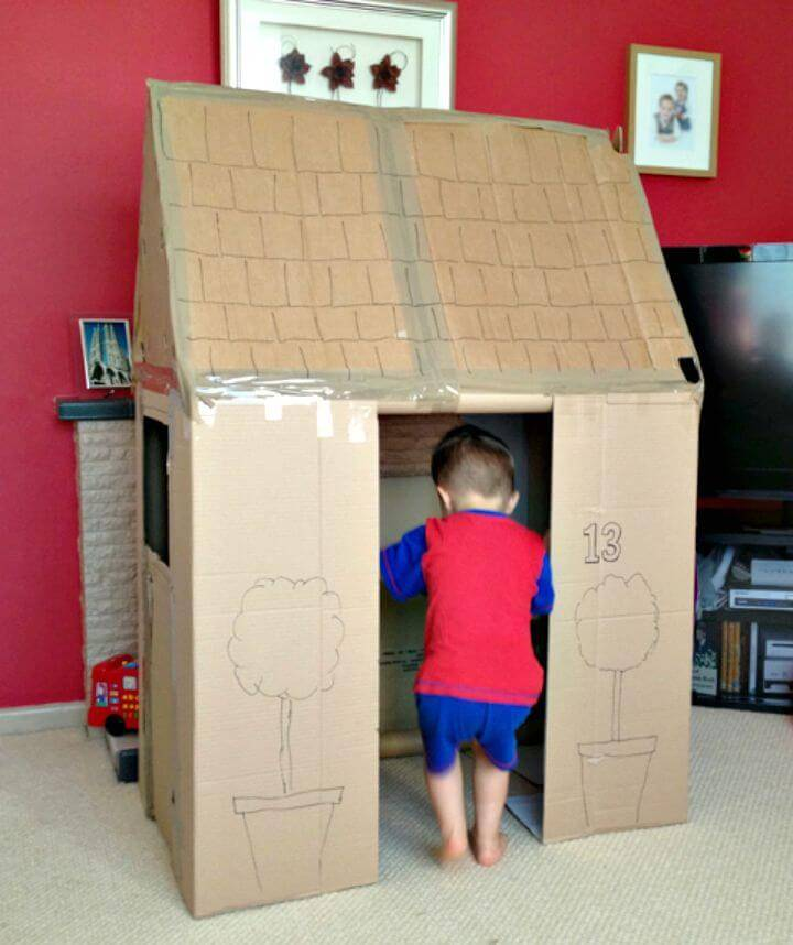 Build a Playhouse with Spare Cardboard Boxes - DIY Reuse Cardboard
