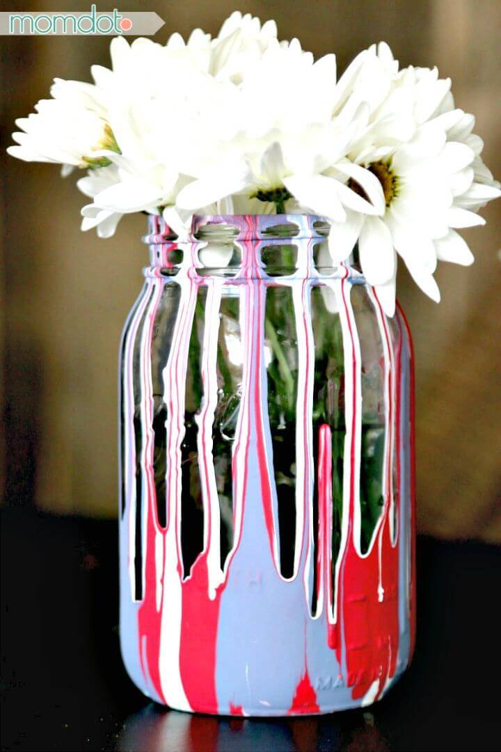 Easy DIY Drip Painting Mason Jars