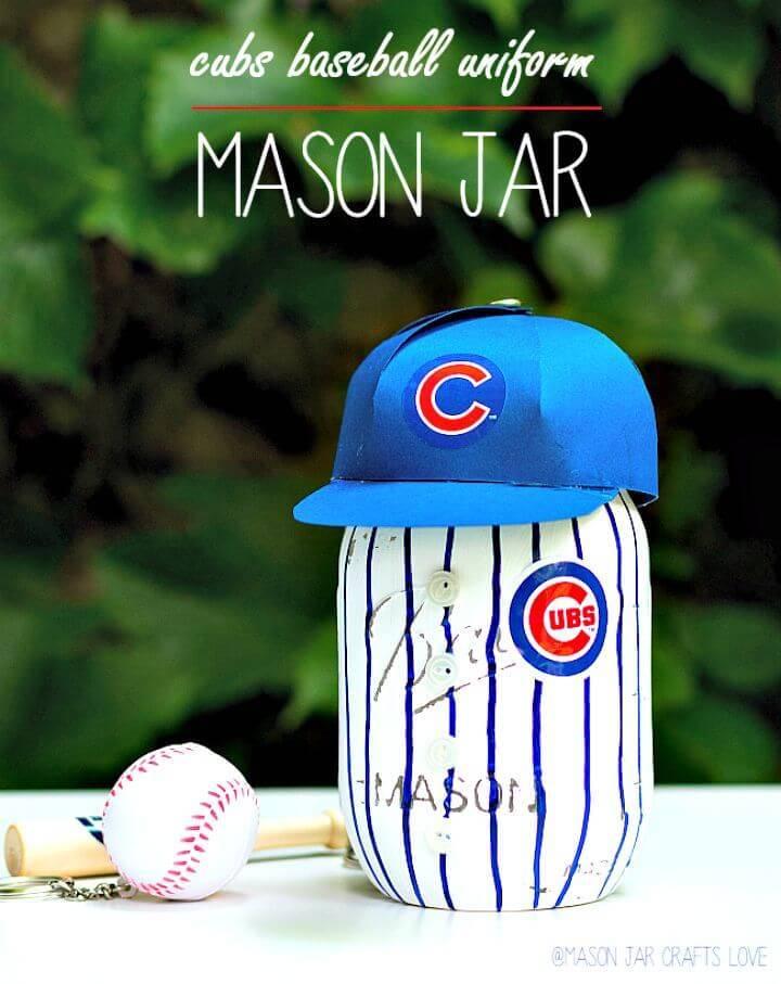 DIY Baseball Uniform Mason Jar - Home Decor Projects
