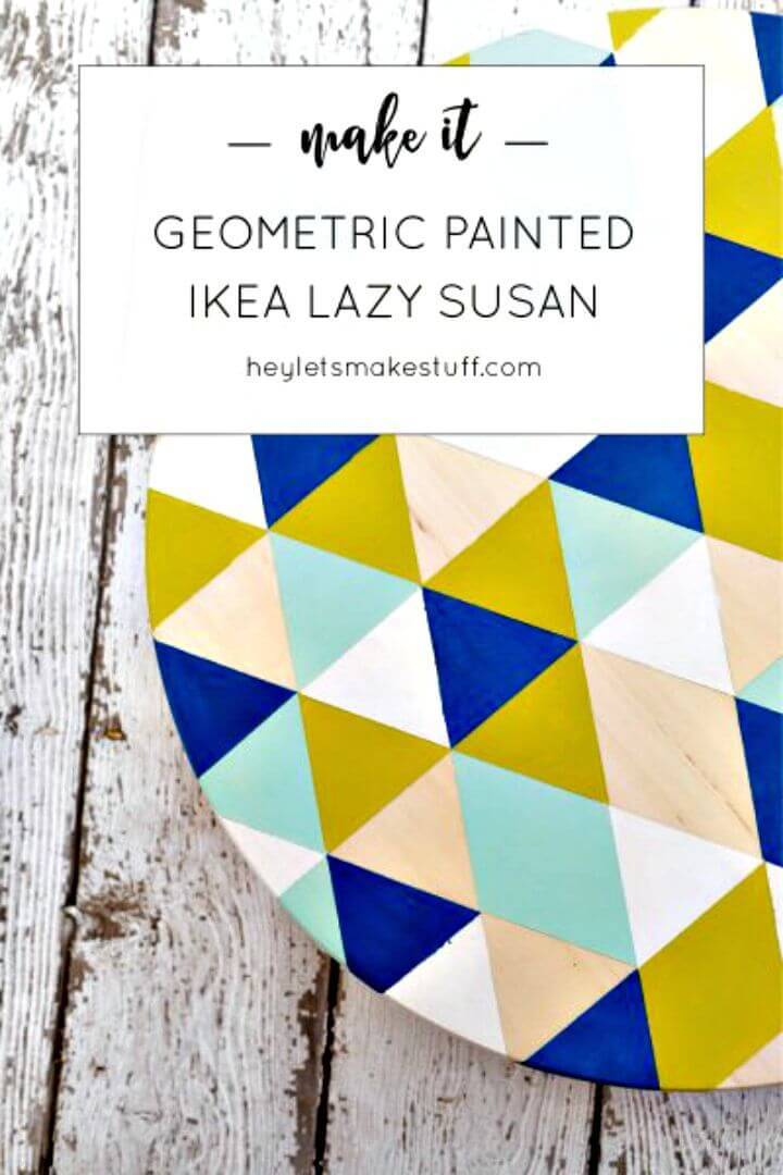 DIY Geometric Painted Lazy Susan