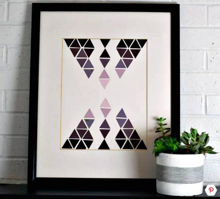 DIY Geometric Wall Art Using Paint Samples