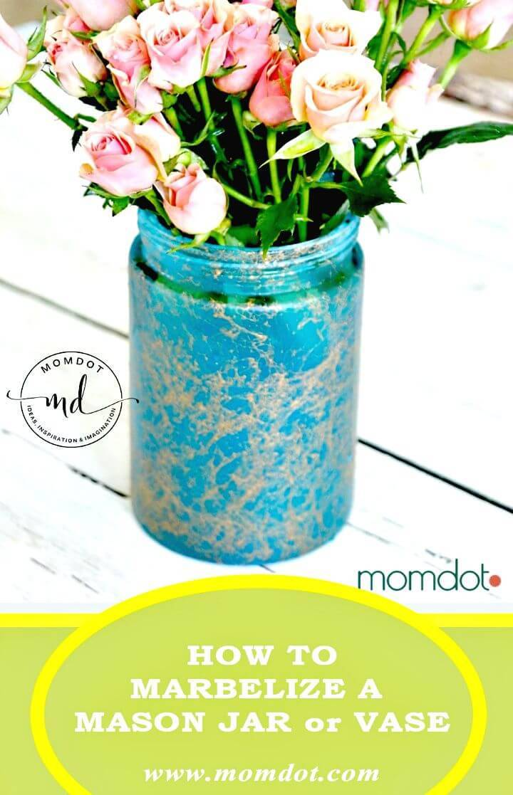 DIY Marbelizing A Mason Jar for Mothers Day