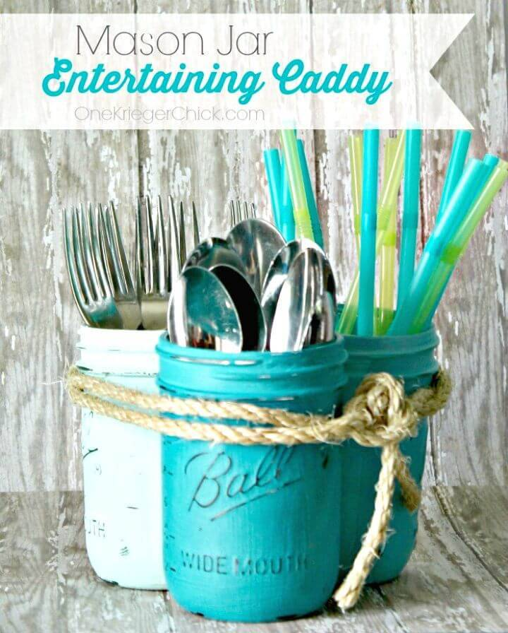 DIY Mason Jar Silverware Caddy
