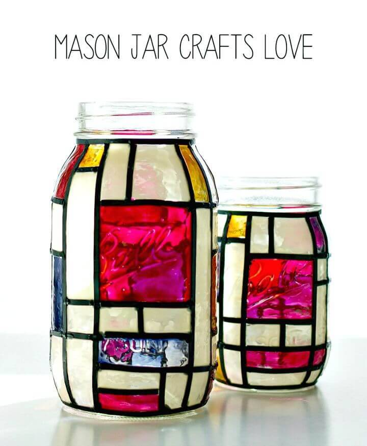 Beautiful DIY Mondrian Mason Jars